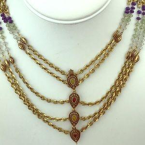 Lucky Brand Brass Multi Strand Statement Necklace